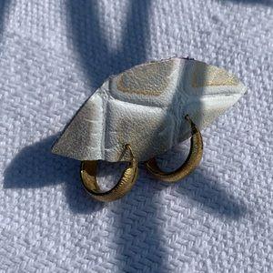 Brushed Gold Plated Mini Hoop Earrings